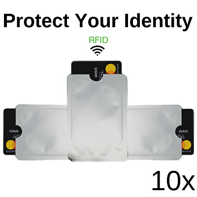 10x RFID Credit Debit ID Card Sleeve Protector Blocking Safety Shield Anti Theft