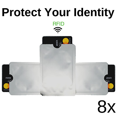 8 Pack High Level RFID Blocking Aluminum Safety Sleeve Credit Card Protector