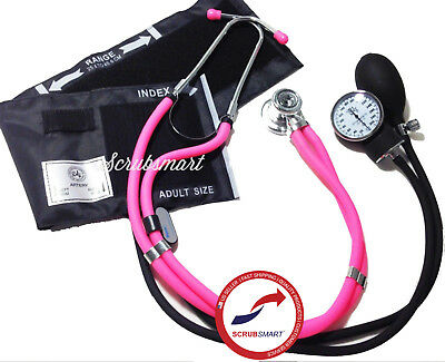 Pink Stethoscope and Aneroid Sphygmomanometer Manual Blood Pressure Set 340