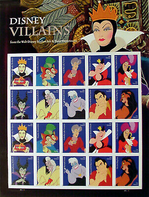 Two Full sheets of Disney Villains, USPS Forever 1st Class Stamps: Mint