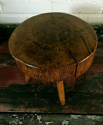 Amazing Antique Primitive Aged Burled Crotched Tiger Oak? Thick Stool W/4 Legs