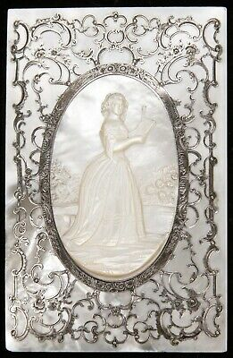 Antique French Carved Mother of Pearl Sterling Silver Plaque Book Cover Woman