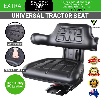 New UNIVERSAL TRACTOR FORKLIFT EXCAVATOR SEAT PU Leather Adjustable Backrest