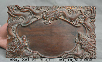 """9.2"""" Old China Huanghuali Wood Dynasty Carving Dragon Loong Pot Inkstone Inkslab"""