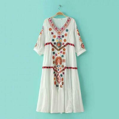 Women Vintage Ethnic Mexican Embroidered Cotton Linen Long Boho Loose Dress Hot