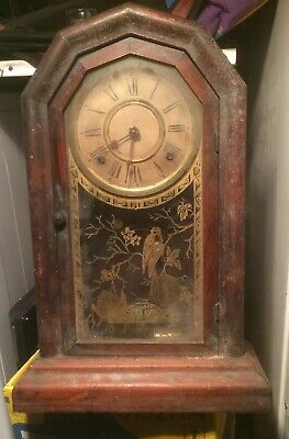 "antique ansonia clock. attic find for repair, parts, spares, project 17.5"" high"