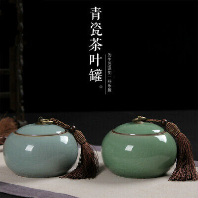 chinese Longquan celadon Sealed caddy Storage puer tea jar beans food Canister