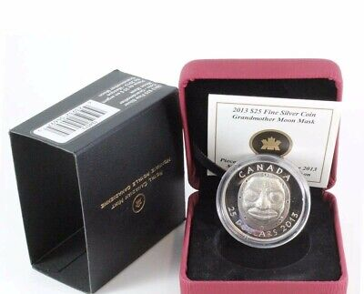 2013 $25 Canada ULTRA HIGH RELIEF Grandmother Moon Mask Proof 99.99% Silver Coin