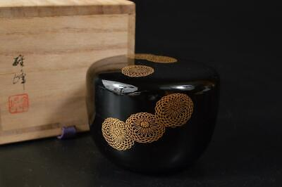 U1013: Japanese XF Wooden Lacquer ware TEA CADDY Natsume w/signed box