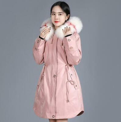 Winter Parka Womens Long Mid Long Rabbit Fur Hooded Coat Loose Thick Warm Casual