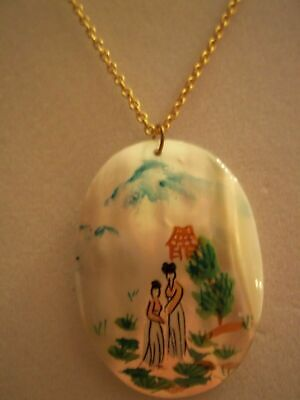 Vintage Necklace - Mother Of Pearl Pendant - Asian Scene Hand Painted