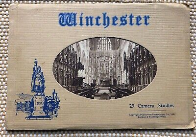 WINCHESTER CATHEDRAL -  Genuine Vintage 1940 Souvenir 'Sepia' Photo Booklet