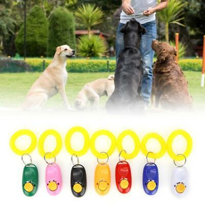7Pcs Dog Training Clicker Click Button Trainer Pet Cat Puppy Obedience Aid Wrist