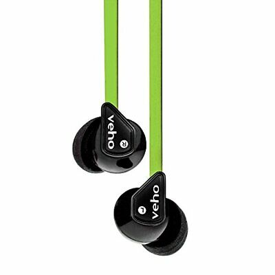 Z1 Noise Isol Stereo Earphones W/Flat Anti Tangle Cordgreen NEW