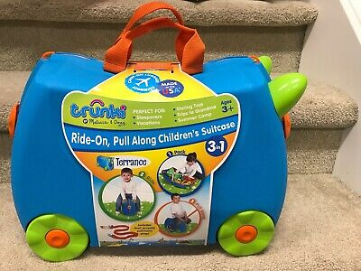 Trunki Original Kids Ride-On Suitcase and Carry-On Luggage Terrance Blue - New