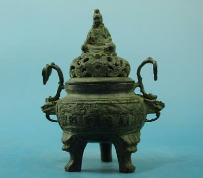chinese old  copper  hand engraving  guanyin three foot  censer d02