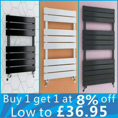Designer Flat Panel Heated Bathroom Towel Rail Radiator White Black Anthracite