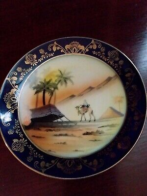 Stunning Vintage Hand Painted Egyptian Scene Gilded Porcelain Plate FREE POST