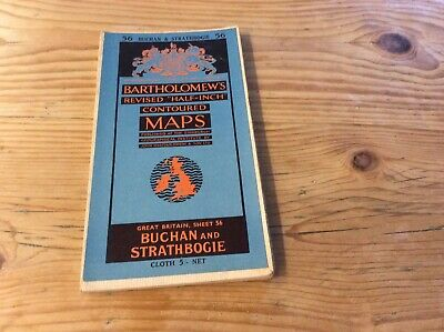 Sheet 56 Buchan & Strathbogie Bartholomews Revised Half Inch Contoured Map Cloth