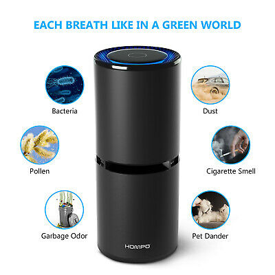 HOMPO Car Air Purifier Ionizer Odor Freshener USB Ionic Cleaner Smoke Remove
