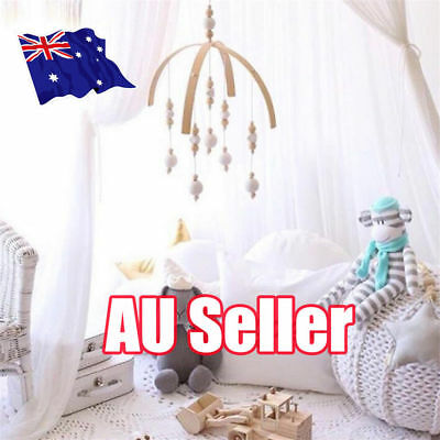DIY Baby Crib Mobile Bed Bell Toy Holder Arm Hanging Bracket Wooden Beads Gif %N