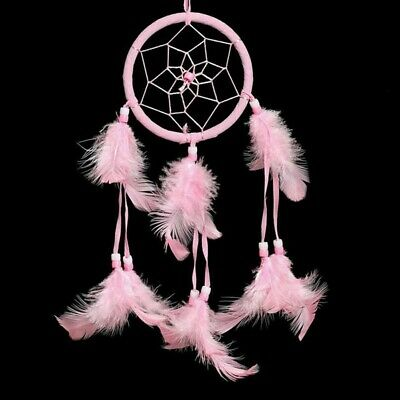 Handmade Dream Catcher Pink Feather Wall or Car Hanging Decoration Ornament Gift