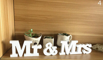 White Mr and Mrs Letters Sign Wooden Standing Top Table Wedding Party Decor nSC