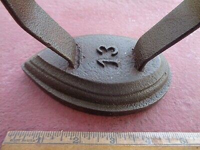 OLD Antique Cast Iron Sad Iron Flat Iron MARKED 13 Square Nails In HANDLE