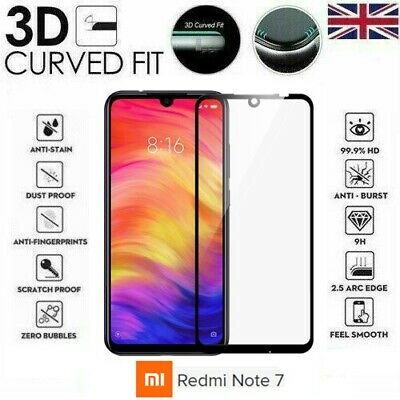 For Xiaomi Redmi Note 7 Full 3D Tempered Glass 9H Screen Protector Cover Black
