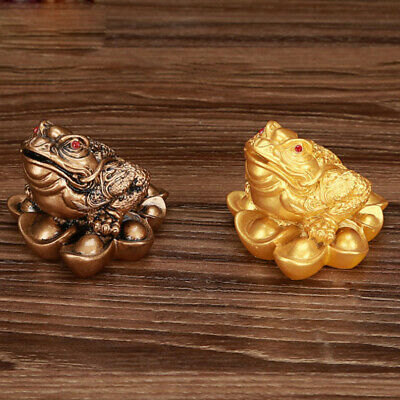 2 Lucky Three-Leg / Bagua Coin Toad Frog Fortune Feng Shui 5cm Golden Copper