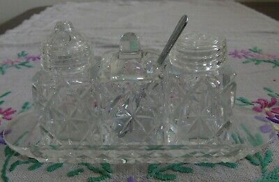 Vintage Small Cut Glass Crystal Condiment Set ~ Salt, Pepper & Mustard w/ Spoon