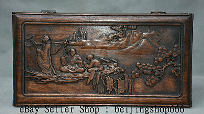 """12"""" Rare Old Chinese Huanghuali Wood Carved Furniture Arhat Scenery Jewelry BOX"""