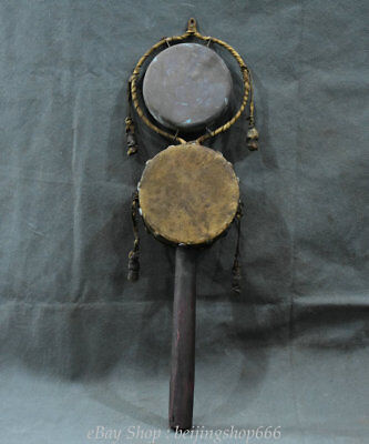 """19"""" Rare Old Chinese Wood Bronze Leather Handle a drum-shaped rattle Pellet drum"""