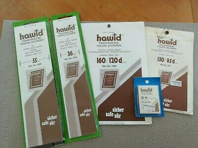 Hawid Stamp Mounts - 5 packs - Assorted sizes - mostly partially used packs.