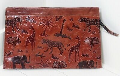 Tooled Endangered Animals Red Leather Document Holder Zipper Closure Tablet