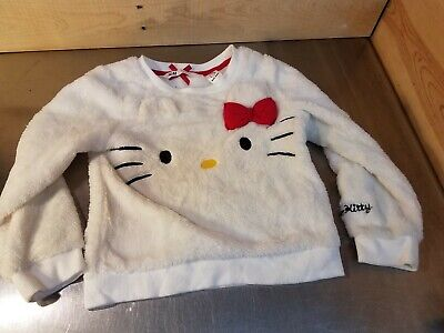 Used H&M Girls Size 2-4Y Fuzzy Hello Kitty Sweatshirt