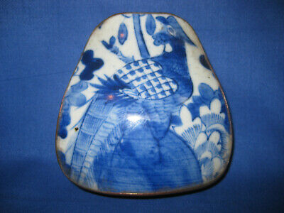 Late Antique 19th Centurey Chinese Phoenix Blue & White Ceramic Topped Shard Box