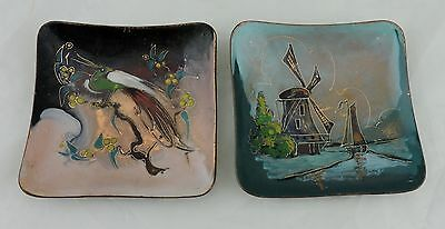 Vintage Enamel/Copper Holland Made Pin Dish W/ Bird,Windmill,Hand Painted,Pair