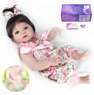 "22"" Realistic Reborn Baby Dolls Full Body Vinyl Silicone Girl Doll Newborn Gifts"