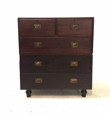 Antique 19th Century Rustic Industrial Mahogany Brass Campaign Chest of Drawers