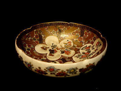 "6"" D MARKED Seizan JAPANESE MEIJI PERIOD SATSUMA LOBED BOWL"