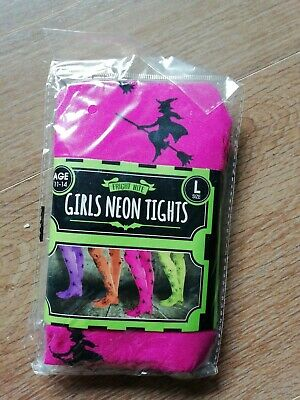 Girl's halloween tights age 11-14 neon pink with witches on new unwanted gift