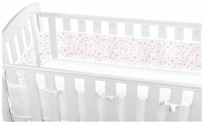 Breathable Baby MESH CRIB LINER 4 SIDED - TWINKLE STAR PINK Baby Child BN