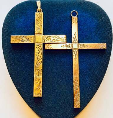 choose 1 engraved Gold Cross pendant 12k gold fill jewelry Large antique Cross