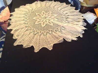Vintage Delicate Lacy Hand Knitted Round Cream Cloth Eastern European/American