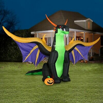 13 FT ANIMATED DRAGON Halloween Airblown Lighted Inflatable FLAPPING WINGS
