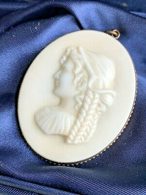 Antique Vintage Pressed Glass Art Deco Era Lady Pendant Cameo Traditional Dress