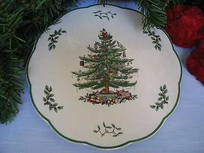 """SPODE CHRISTMAS TREE 9"""" Cheese Board Plate Appetizer Torte Cake Serving Dish NWT"""