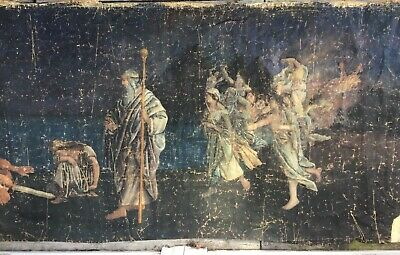 LG Antique HOLY ANGEL & WISE MEN Old WALL SIZE Jesus Birth TAPESTRY Oil PAINTING