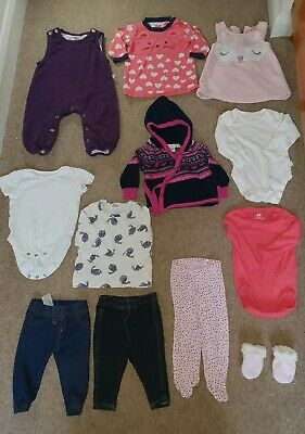 Baby Girl clothes bundle age 0-3 months 12 items inc jojo hooded cardigan
